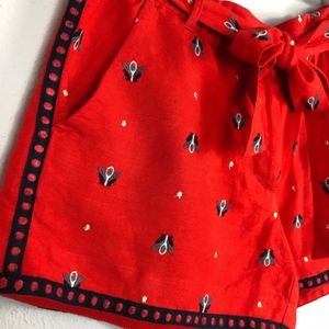LOFT embroidered shorts | red + blue